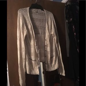 Lucky Brand Cream and Navy Button Down Cardigan